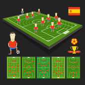 Soccer world cup team presentation. Spain team — Stock Vector
