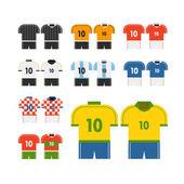 World soccer team t-shirts vector clip-art. Flat design — Stock Vector