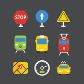 Different transport icons set with rounded corners. Flat design  — Stockvector