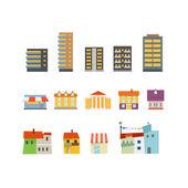 Abstraktní město budov ilustrace sada. ftat design — Stock vektor