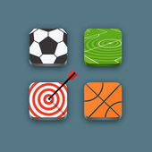 Different sports icons set with rounded corners. Design elements — Stock Vector