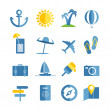 Summer seaside vacation icons. Different stuff collection — Stock Vector #50260109