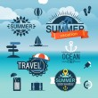 Summer seaside vacation icons. Different stuff collection — Stock Vector #50260115