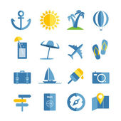 Summer seaside vacation icons. Different stuff collection — Stock Vector