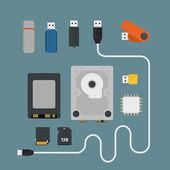 Different memory storage devices — Vector de stock