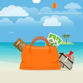 Summer seaside vacation illustration — Stock Vector