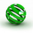 Glass striped green sphere - Stock Photo