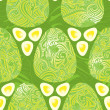 Easter eggs green style seamless pattern - Stock Vector
