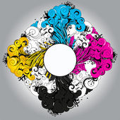 CMYK palette splash (place for your text) — 图库矢量图片