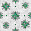 Emerald flowers pattern — Stock Vector