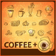 Coffee hand drawing icons set — Stock Vector