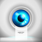 Blue eye cyborg (place for your text) — Stock Vector