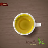Cup of green tea at wooden background — 图库矢量图片