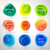 Colorful watercolor vector circles with smiling — Stockvektor