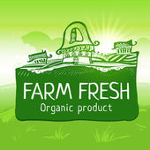 Green colored farm fresh product label — Stock Vector
