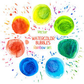 Rainbow watercolor vector circle — Stockvektor