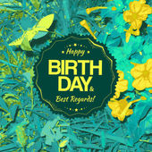 Best regards label for birthday card — Stockvector