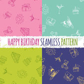 Birthday seamless pattern with hand drawing elements — Stock Vector
