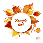 Autumn sunny watercolor circle with leaves splashes — Stock Vector