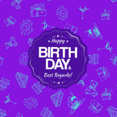 Purple birthday seamless pattern with hand drawing elements — Stock Vector