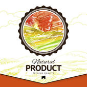 Vector watercolor styled drawing natural product label — 图库矢量图片