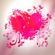 Loving watercolor splash heart with sketch graphical elements — Stock Vector #51391529