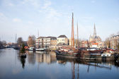 Old ships in harbour of Gouda — Stock Photo