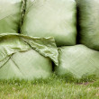 Grass wrapped in plastic - Stock Photo