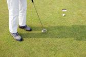 Stawianie na zielone pole golfowe — Zdjęcie stockowe