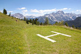 Landing place for helicopter near cinque torri in the dolomites — Stock Photo