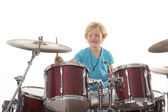 Young boy playing drums — Stock Photo