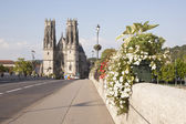 Bridge and cathedral of pont a mousson — Stock Photo