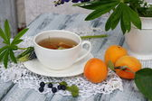 Cup of linden tea with apricots and blueberries — Stock Photo