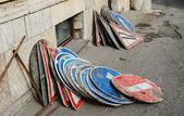 Montón de señales durante la reconstrucción calle — Foto de Stock