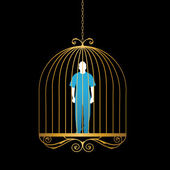Man in gold bird cage — Stock Vector