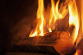 Wood burning in flames - Detail. — Stock Photo
