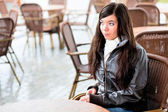 Girl in cafe — Stock Photo