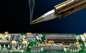 PCB. Solder and electronic circuit board — Stock Photo