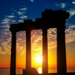 Ruins on sunset - Stock Photo