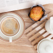 Stock Photo: Cake muffin with coffee