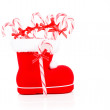 Christmas boot stocking with red candy cane — Stock Photo