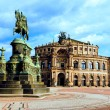 Opera House and monument to King John of Saxony  — Stock Photo