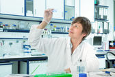 Laboratory assistant exploring cellular tissue sections. biopsy — Stock Photo