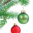 Baubles on Christmas tree isolated on white — Foto de Stock