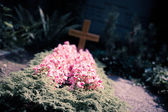 View of the grave with a cross — Stock Photo