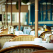 Empty tables at outdoor restaurant — Stock fotografie #30388877