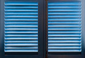 Blue wooden shutters — Stock Photo