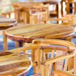Stock Photo: Street cafe tables on the coast, Santorini Greece