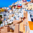Oia on the island of Santorini Greece, colorful toy houses — Stock Photo