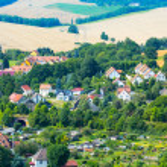 Views European village with a bird's eye — Stock Photo